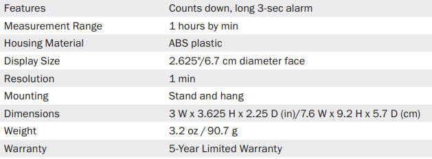 long ring timer specs